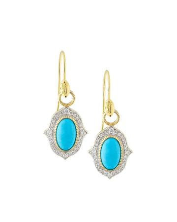 18k Moroccan Pavé Oval Drop Earrings, Turquoise