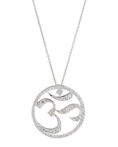 18k White Gold Diamond Om Pendant Necklace