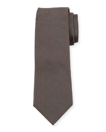 Dot-pattern Silk Tie, Blue/camel