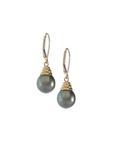 14k Yellow Gold Tahitian Pearl Drop Earrings