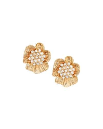 Golden Flower Stud Earrings W/ Crystals