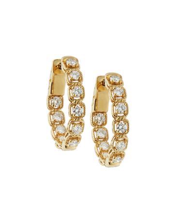 14k Yellow Gold Diamond Illusion Hoop Earrings,