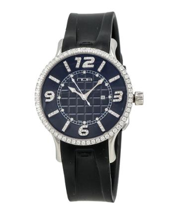 Rubber-strap Diamond-dial Watch, Black