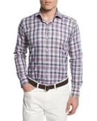 Plaid Long-sleeve Sport Shirt, Blue Plaid