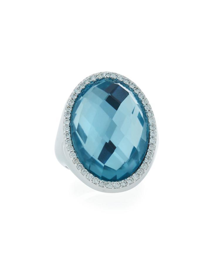 18k White Gold Diamond & Topaz Ring,