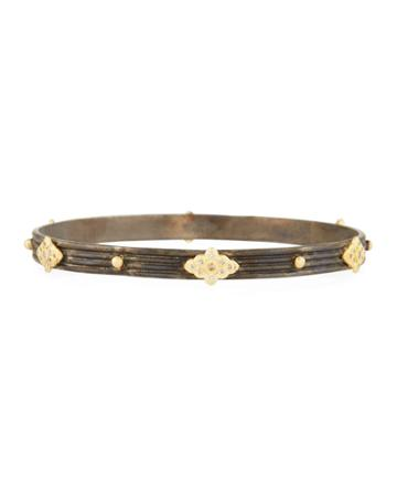 Two-tone Diamond Scroll-station Bangle