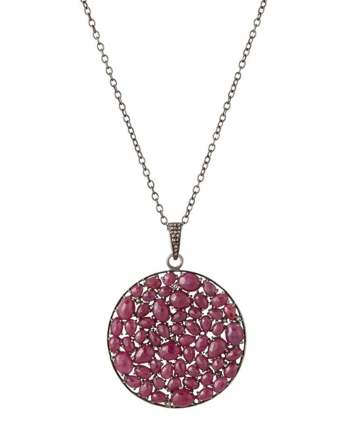 Circular Multi-ruby Pendant Necklace