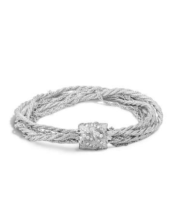 Woven Chain Bracelet W/ Diamond Bead