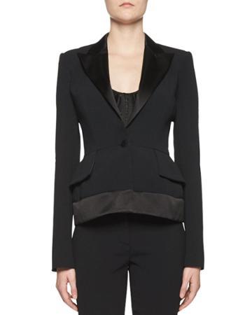 Stretch-cady Jacket W/satin Trim, Black