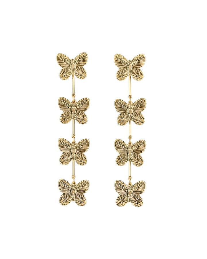 Textured Linear Butterfly Earrings