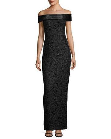 Off-the-shoulder Lace Column Gown, Black