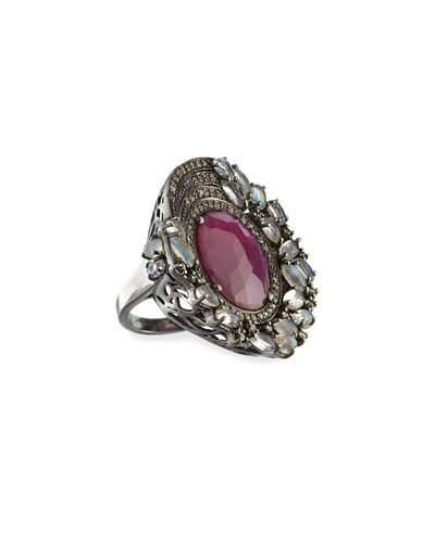 Moonstone, Composite Ruby & Diamond Cocktail Ring,
