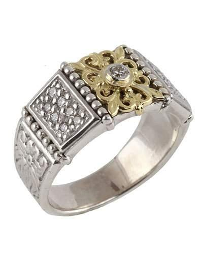 Asteri Floral Pave White Diamond Band Ring,