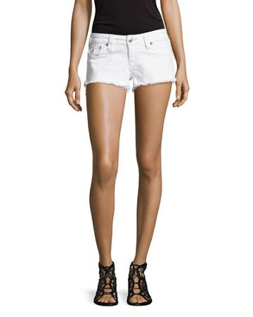 Basic Cut-off Denim Shorts, Optic White