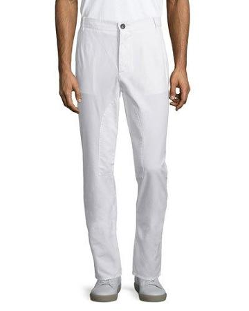 Flat-front Cotton Pants, Off White
