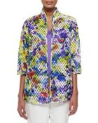 Embroidered Organza Easy Jacket,