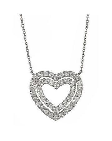 Diamond Double-heart Pendant Necklace,