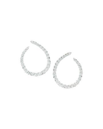 Neiman Marcus Love Journey Diamond Loop Earrings, Women's, White