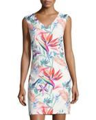 Floral-print Sleeveless Sheath Dress,