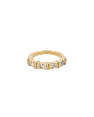 Estate 18k Tricolor Gold Diamond-station Ring,