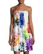 Strapless Floral-print Short Dress,
