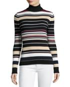 Striped Ribbed-knit Turtleneck Top, Assorted