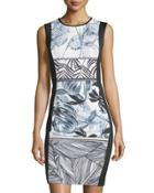Sleeveless Printed Scuba Dress, Print