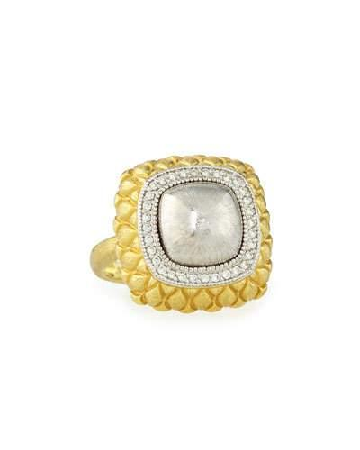 Pave Diamond Quilted Two-tone Cushion Ring,