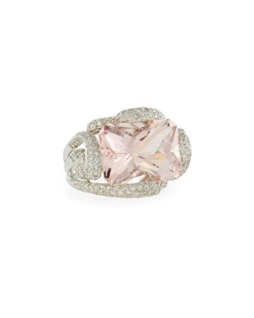 Estate 18k White Gold Morganite & Diamond Ring,