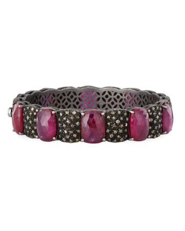 Glass-filled Ruby & Diamond Bangle