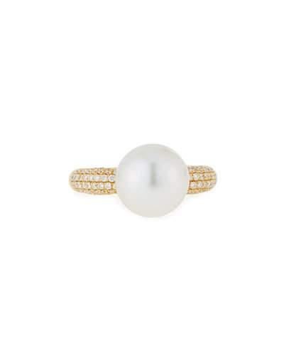 18k Yellow Gold South Sea Pearl & Pave Diamond Ring,