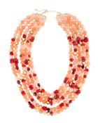 Multi-strand Necklace W/ Pearls, Pink