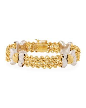 Estate 18k Two-tone Gold Bow Bracelet