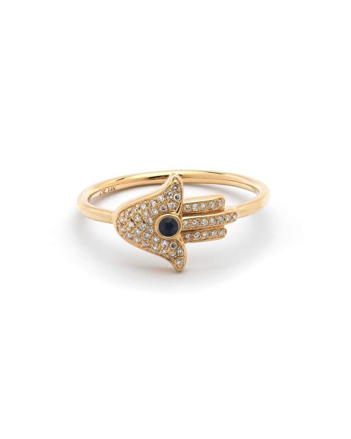 14k Diamond & Sapphire Hamsa Ring,