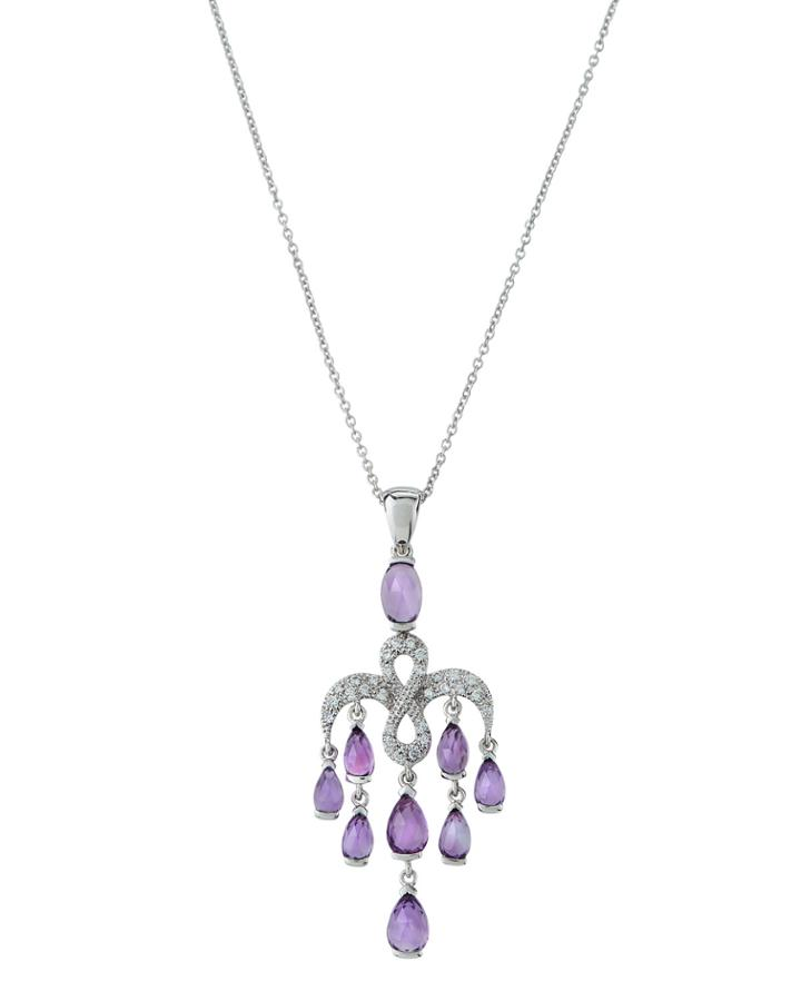 18k White Gold Amethyst & Diamond Pendant Necklace