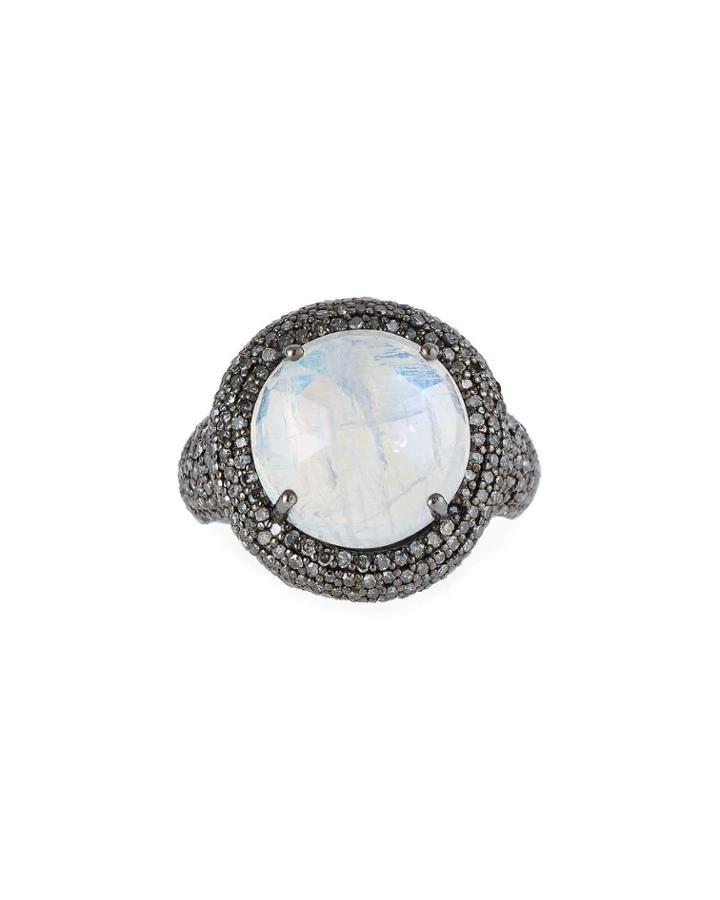 Round Rainbow Moonstone & Diamond Ring