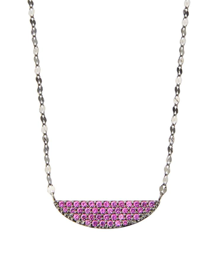 14k Electric Crescent Pendant Necklace, Pink