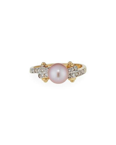 18k Yellow Gold Lavender Pearl & Diamond Ring,