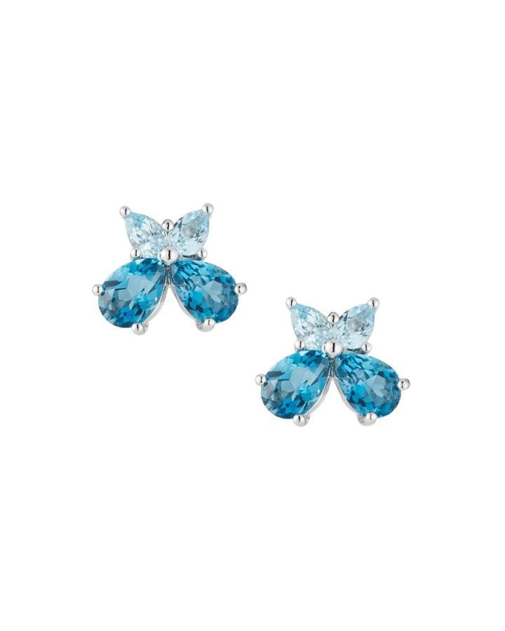 18k White Gold Quartz Stud Earrings, Blue