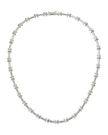 Estate 18k White Gold Diamond-x Necklace