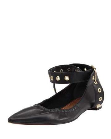 Mavis Leather Grommet Flat, Black
