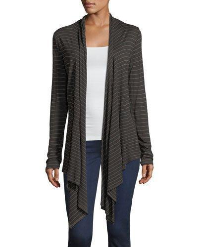 Asymmetric-hem Striped Cardigan