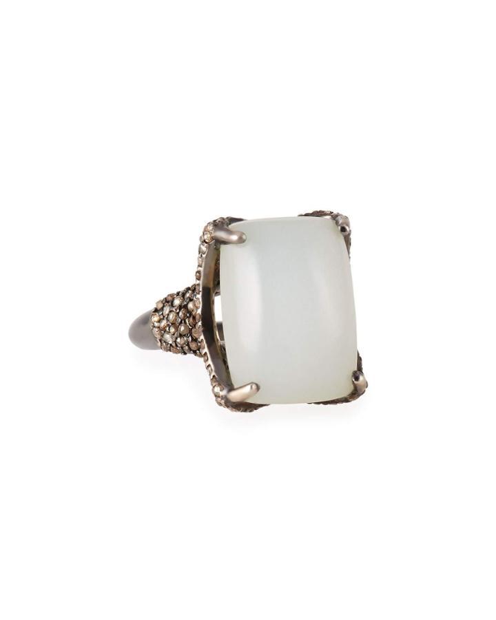 Rectangular Moonstone And Diamond Ring,