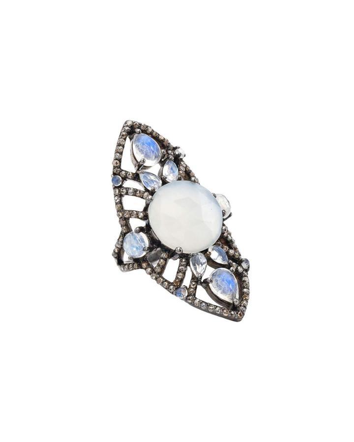 Elongated Moonstone & Diamond Ring