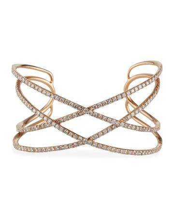 Estate 18k Rose Gold Diamond Bangle Bracelet