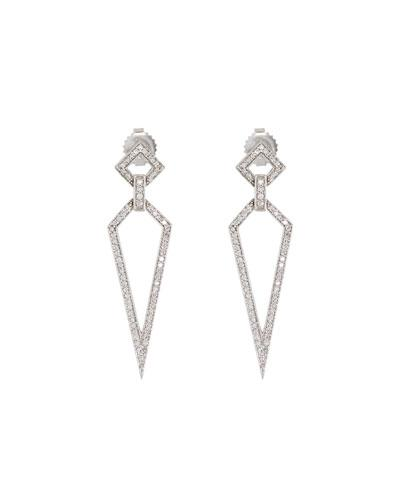 18k White Gold Diamond Stiletto Drop Earrings
