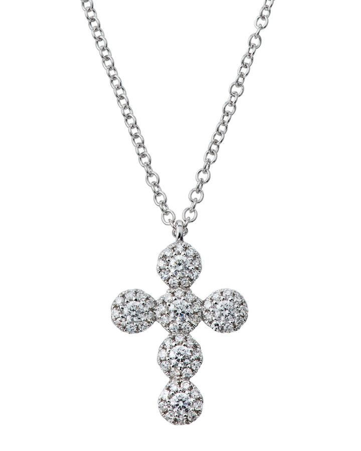 14k Diamond Cross Pendant Necklace,