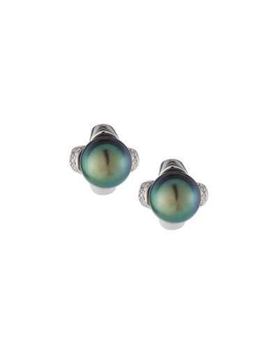 14k Black Tahitian Pearl & Diamond Stud Earrings,