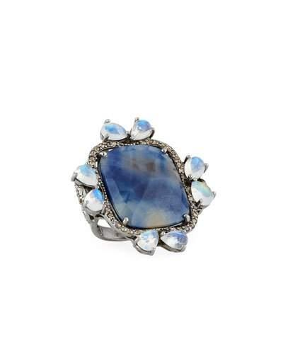 Sapphire, Moonstone & Diamond Ring