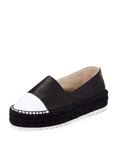 Willow Leather Platform Espadrille, Black